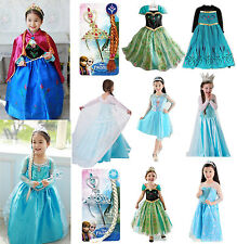 Disney Frozen Princess  Elsa Anna Girl's Cosplay Costume Party Fancy Dress 3-8T