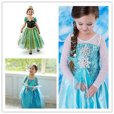 Frozen Princess Elsa Anna Party Fancy Dress Girl's Cosplay Costume Cloth 3-11Y