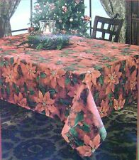 New Red Poinsettia Christmas Holiday Fabric Tablecloth Benson Mills 419