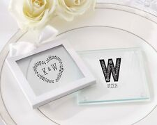 108 Personalized Rustic Themed Glass Coasters Wedding Favor