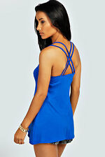 Women's Ladies Clothing Leah Double Cross Back Strappy Cami Vest Top