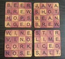 Scrabble Style Coasters - Polyester with Rubber Backing