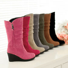 Women Fashion Faux Suede Wedge Med Heel Mid Calf Boots Shoes AU Size 2-8.5 A545