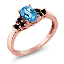0.75 Ct Oval Swiss Blue Topaz Black Diamond 925 Rose Gold Plated Silver Ring