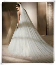 Long soft Tulle Bridal Veil Wedding veils 3m 2-Layers with comb white/ivory