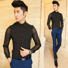 Men's New Unique See-through Long Sleeve Solid Fashion Casual Party Dress Shirts