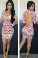 Sexy Queen Print Open Back  Evening Cocktail Mini Club wear Party Fashion Dress