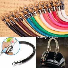 "20"" Leather Braided Wrap Replacement Strap with Clips Shoulder Purse Handbag Bag"