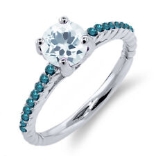 0.97 Ct Round Sky Blue Aquamarine Blue Diamond 925 Sterling Silver Ring