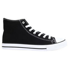 Mens Black Canvas Lace Up Baseball Boots Pumps Trainers Sizes UK 7 & 8