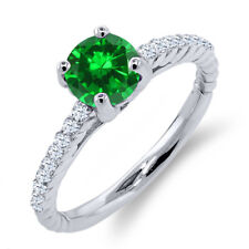 1.72 Ct Round Green Simulated Emerald White Diamond 925 Sterling Silver Ring