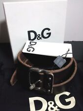 NEW DOLCE&GABBANA D&G Mens Belt Metal Buckle Logo Brown Leather 32, 36, 38, 40