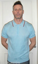 ART GALLERY CLOTHING SKY BLUE DIAMONDS POLO MODS  60'S RETRO NORTHERN SOUL
