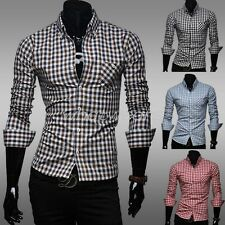 Mens Classic Plaid Long Sleeve Casual Shirt Tops Blouse Slim Fit 4 Color GBW
