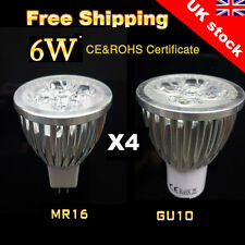 4 x 6W MR16 GU10 Warm/Day White LED Bulbs Spotlight Lamps High Power Light Bulb