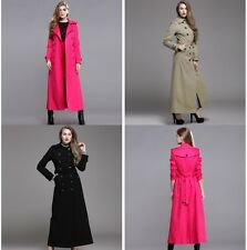 Ladies double breasted maxi long trench coat jacket outwear size S-XXXL 3 colors