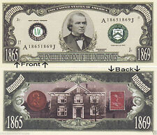 17th President A. Johnson 1865-1869 Novelty Bill Notes 1 5 25 50 100 500 or 1000