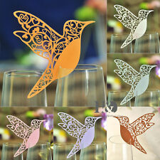 Humming Paperboard Bird Laser Cut Glass Place Name Card Wedding Invitation Favor
