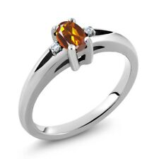0.43 Ct Oval Orange Red Madeira Citrine 925 Sterling Silver Ring