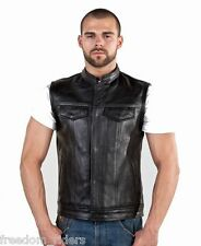 Mens Concealed Leather Motorcycle Biker Club Outlaw Vest w/ Gun Firearm Pocket