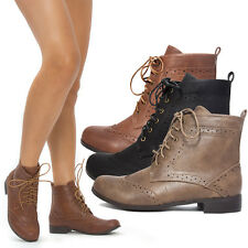 Womens Round Toe Victorian Lace Up High Top Ankle Low Heel Bootie Boot Shoe 5-11