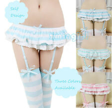 Cute&Sexy Anime Style Blue&Pink Stripe Garter Belt Strap Panties Lace Underwear