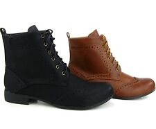 Women's Ankle Booties Cowboy Cowgirl Wingtip Combat Faux Leather Boots Lace Up