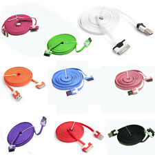 Flat Noodle USB Charger Cable Data Sync  For iPhone 4G 4S iPod 3Ft/6ft/10Ft