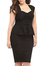 Women 2014 fashion design Black Ruched Peplum Dress with Bow LC6455 On sale
