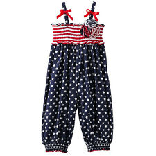 Bonnie Jean Patriotic Stars Stripes Romper Outfit 4th July Memorial Day Holiday