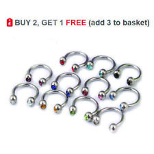 Horseshoe Bar Circular Barbell Ring Crystal Gem Balls 16G Steel Nose Ear Helix
