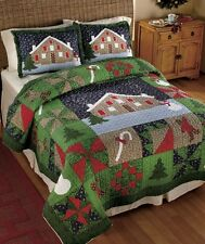 GINGERBREAD CANDY CANE CHRISTMAS TREE QUILT COMFORTER SHAM SNOW MAN Valance New