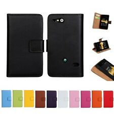 New Luxury Glossy GENUINE Real Leather Flip Wallet Case for Sony Xperia Go ST27I