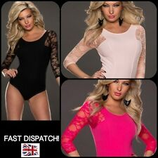 *UK* Sexy Bodysuit Leotard Romper Teddy Body Top Lace 3/4 sleeve