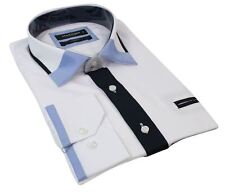 Mens Slim Fit Designer White Button Pocket Shirt Smart Casual Italian Navy Blue