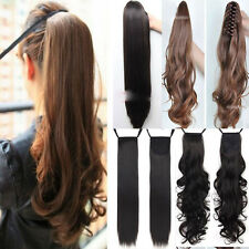 Clip In Ponytail Pony Tail Hair Extension Wrap On Hair Piece Wavy Straight ssn