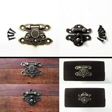 12X Antique Brass Decorative Jewelry Gift Wooden Box Hasp Latch Hook With Screws
