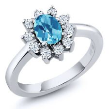 1.35 Ct Oval Checkerboard Swiss Blue Topaz White Topaz 925 Sterling Silver Ring