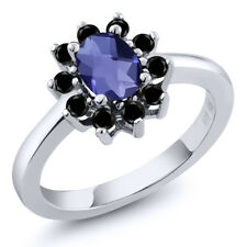 0.98 Ct Oval Checkerboard Blue Iolite Black Diamond 925 Sterling Silver Ring