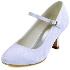 EP1085  White Ivory Women Closd Toe Buckle  Lace Wedding Flats US 4-11