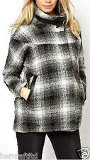 ASOS MATERNITY Womens Ladies Check Funnel Neck Wool Coat Jacket Sizes 6 - 18