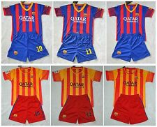 2013-2014 BARCELONA  WITH  MESSI,NEYMAR,own name shirt and short  3-14 Years