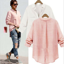 New Women Lady Lapel V-Neck Button Down Boyfriend Style Long Shirt Tops Blouse