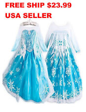 USA SELLER Frozen Elsa Dress Up Gown Costume Ice Princess Queen Anna 3T- 10Y