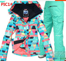 HOT Gsou snow NEW Girls Women's ski snowboard snow jacket Coat and pants XS-L
