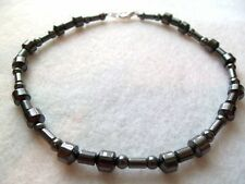 MENS MAGNETIC HEMATITE ANKLE BRACELET MAGNETS Black Hematite Magnetic Beads