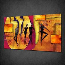 ABSTRACT AFRICAN DANCERS WALL DESIGN CANVAS PRINT MANY SIZES FREE UK P&P AF099