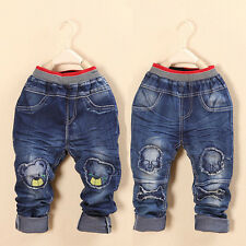 New Kids Baby Boys Korean Jeans Pants Bear Skull Trousers Costume Clothes 3-7Y