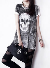 Hot Sales Girls Skull Printing Long Section Loose Short Sleeve T Shirt Halloween