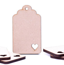Wooden MDF Curved Luggage Tags Jar Labels Gift Tags Wedding with Heart